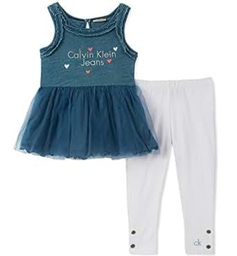 Calvin Klein Girls' Toddler Tunic Set, Medium wash Blue/Navy/White, 2T