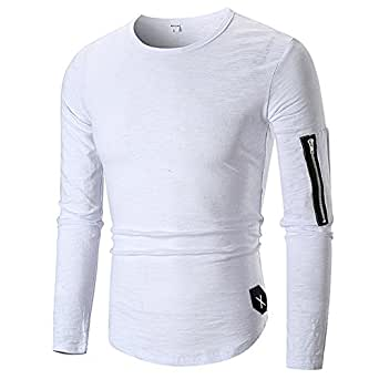 Inverlee-Mens Casual Tops Long-Sleeved Zipper T-Shirt