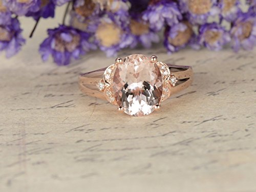 8x10mm Oval Cut Pink Morganite Engagement Ring Solid 14k Rose Gold Cluster Diamond Plain Wedding Band Antique Art Deco Bridal Set Solitaire Anniversary Gift Retro (Antique Diamond Ring Pink)