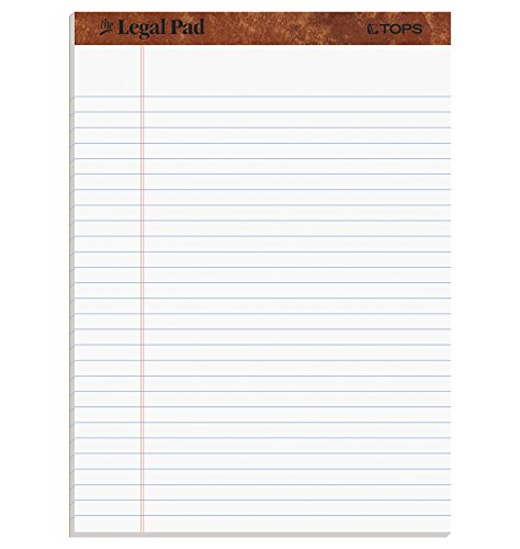 TOPS The Legal Pad Writing Pads, 8-1/2 x 11-3/4, Legal Rule, 50 Sheets, 12 Pack (7533)