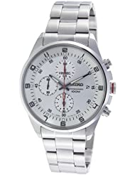 Seiko Mens SNDC87P1 Silver Dial Chronograph Stainless Steel Watch