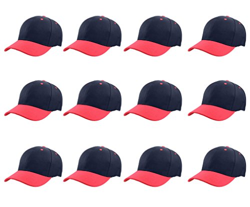 Gelante Plain Blank Baseball Caps Adjustable Back Strap Wholesale LOT 12 PC'S (Navy Red)]()