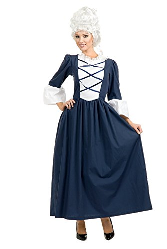 Charades Women's Colonial Lady Full Length Dress, Navy/White, Large (Wig Not Included) ()