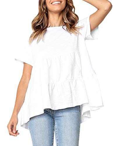 Fmolucity Women's Casual Short Sleeve Loose Blouse High Low Hem Ruffle Peplum Tops T Shirts (White, XXL)