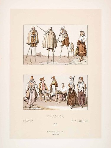 [1888 Chromolithograph Landes Pyrenees 19th Century Costume Stilts Tradition Art - Original] (Costume Land)