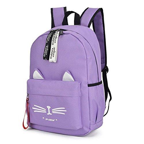 - DIOMO School Bookbag Backpack Cute Cat Waterproof Travel Daypacks Fits 15.6 inch Laptop (Purple)