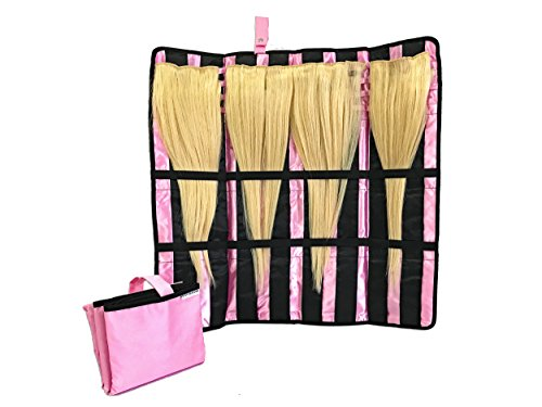 Hair Extension Storage Organizer - Get Satin-Lined Smoothness for Your Clip-In, Tape-In, Synthetic & Human Hair in this Carrying Case with Flexible Hanger - Perfect For Travel and Styling