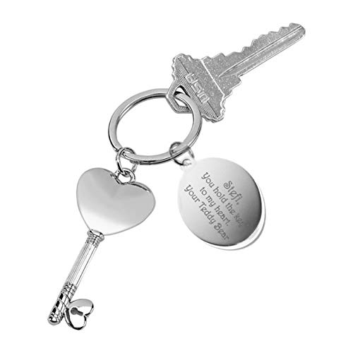 Personalized Silver Key To My Heart Keychain Engraved Free
