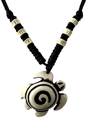 Necklace+With+Pendant+-+Choker+Style+Beach%2C+Tribal%2C+Hippie%2C+Surfer%2C+Rasta%2C+Festival+Jewelry+for+Boys+and+Men+%28Stone+Turtle%29