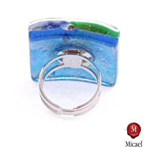 'Shirtzshop Murano cristal ring Sogno–Multicolor de Plata