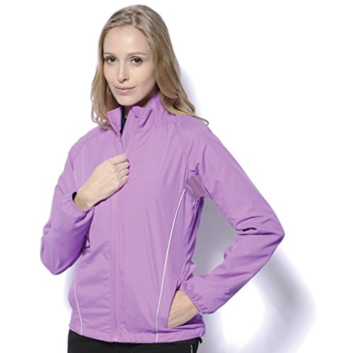Monterey Club Ladies Microfiber Poplin Zip-up Jacket w/Piping Detail #2779 (Violet/Silver, Small)