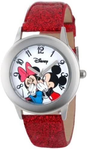 Disney Kids' W000853 Tween Mickey and Minnie Mouse Stainless Steel Watch with Red Glitter Band