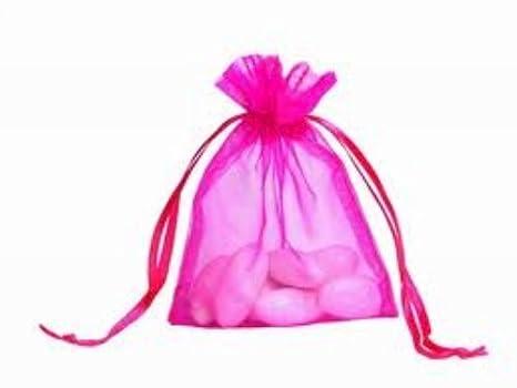 100 caliente, rosa, bolsas de Organza 9 x 12 cm, diseño de ...