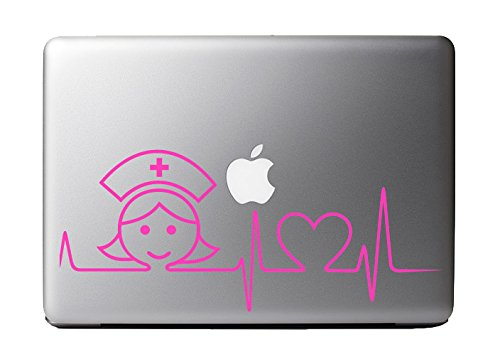 Heartbeat Magenta Sticker Macbook Computer