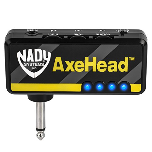 Nady AxeHead Miniature Headphone Guitar Amplifier – Built-in amp simulation with gain, tone and volume controls – includes headphones splitter, 3.5mm audio cable, and USB charging cable