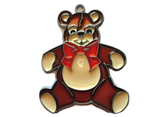 Resin Stained Glass Brown Teddy Bear with Red Bow - Glass Stained Bear Teddy