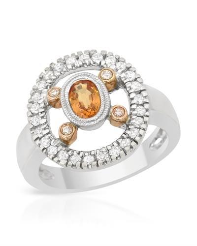 18K Two Tone Rose Gold Yellow Sapphire & Round Diamond Ring
