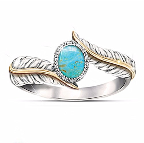 Digital baby Magnificent Women's Jewelry 925 Sterling Silver Turquoise Feather Ring 18K Gold Proposal Gift Cocktail Party Rings Bridal Wedding Size 5-10