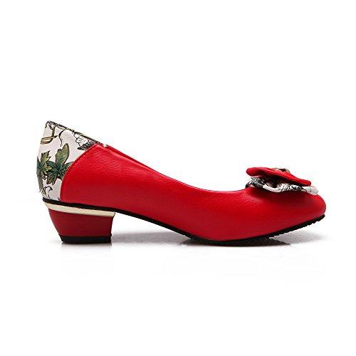 AgooLar Damen Weiches Material Ziehen auf Spitz Zehe Niedriger Absatz Rein Pumps Schuhe, Rot, 41