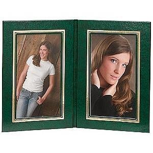presidential double 5x7 green leatherette stock photo frame wgold foil border sold in 2s - Double 5x7 Frame