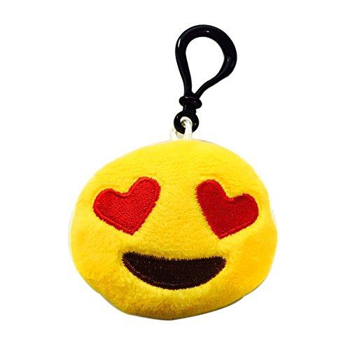 Nuoxinus Emoji Keychain Mini Cute Plush Toys Handbag Key Chains Bags Backpack Accessories for Women Men Teens Girls Boys Kids (Set of 6, 2.4 inch)
