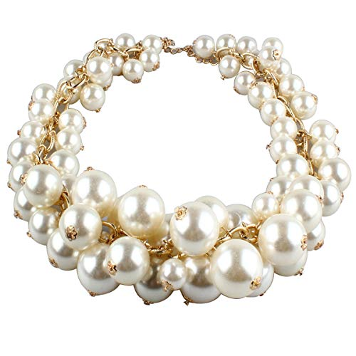 - MeliMe Womens Imitation Pearl Twisty Chunky Bib Necklace Chokers for Wedding Party (Style 04)