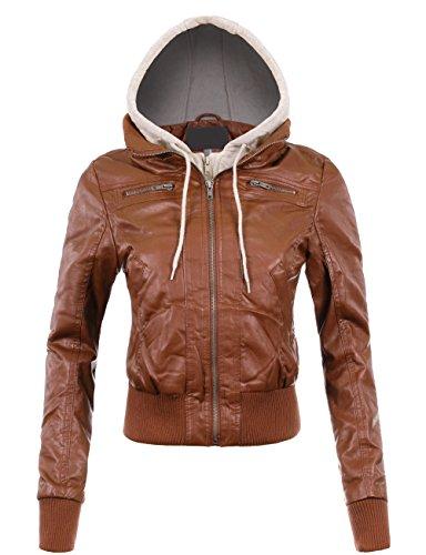 BEKTOME Womens Fleece Hood Faux Leather Zip Up Moto Biker Bomber Jacket -M-Cognac (Crop Moto Jacket)