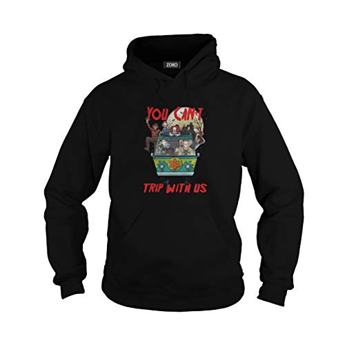 Zoko Apparel Unisex You Can't Trip with Us Horror Halloween Movie Hoodie (L, Black)