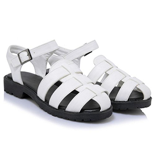 COOLCEPT Damen Mode Knochelriemchen Sandalen White-2