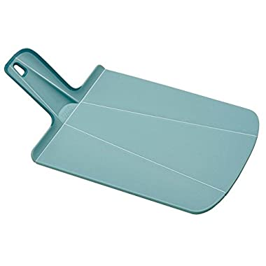 Joseph Joseph 60103 Chop2Pot Foldable Plastic Cutting Board 15-inch x 8.75-inch Chopping Board Kitchen Prep Mat with Non-Slip Feet 4-inch Handle Dishwasher Safe, Small, Blue