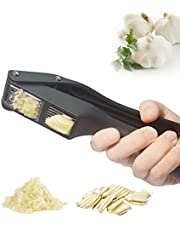 Garlic Press, 2 in 1 Garlic Slicer and Garlic Mincer Set, PP+430 Stainless Steel Garlic Crusher, Easy to Squeeze & Easy to Clean & Rust Proof & Dishwasher Safe