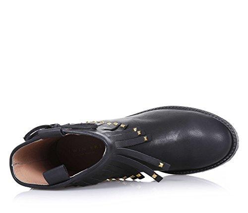 TWIN-SET - Bottine noire en cuir avec petite frange sur la jambière, Made in Italy d'haute qualité, petits clous dorés décoratifs, nœud papillon latéral et semelle, Fille, Filles, Femme, Femmes