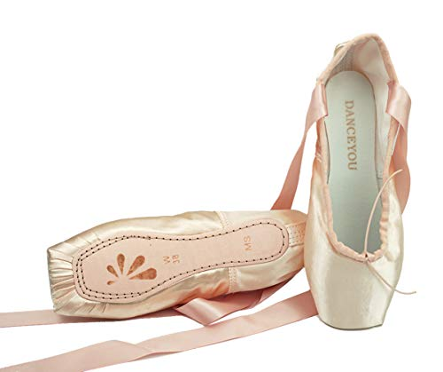 DANCEYOU Professional Ballet Pointe Shoes, Satin Pointe Slippers with Ribbon Soft Sole for Big Girls Women, Pale Pink, 265mm (Footwear Natural Satin)