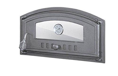 Porta per forno a legno, forno per pizza, in ghisa con termometro e vetro; dimensioni esterne  490 x 280 mm, apertura a destra.