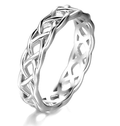925 Sterling Silver Ring Boruo Celtic Knot High Polish Tarnish Resistant Eternity Wedding Band