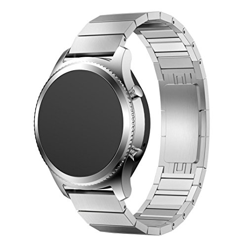 Wensltd Stainless Steel Watch Band Strap Metal Clasp For Samsung Gear S3 Classic (silver)