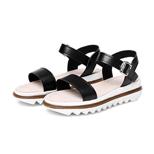 grandi black metallo Scarpe QPYC tempo Estate piattaforma Studenti Donne toe con da fondo Confortevole in piatte Bottone per dimensioni di spesso sandali open il libero SBSq84