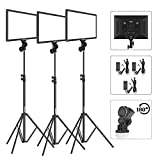 Bi-Color LED Video Light Stand Lighting Kit 3 Pack Dazzne Panel 3000K-5800K 45W 4800LM Dimmable 1-100% Brightness Soft Light for YouTube Video Shooting Photography Lighting