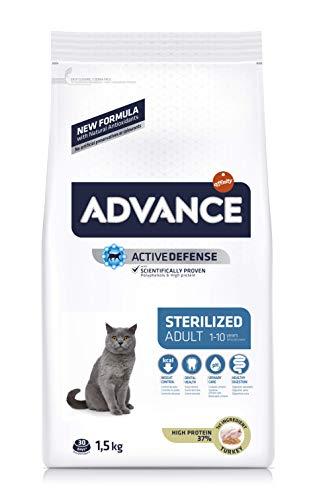 🥇 Advance Sterilized-Pienso para Gatos Adultos Esterilizados con Pavo Y Cebada-1.5 Kg
