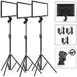 Bi color Led Video Light Stand Lighting Kit 3 Pack Dazzne Panel 3000k 5800k 45w 4800lm Dimmable 1 100 Brightness Soft Light For Youtube Video Shooting Photography Lighting