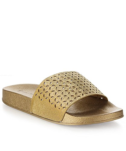 - RF ROOM OF FASHION Women's Fashion Perforated Cut Out Design Slides - Slip on Flat Sandals - Soft Footbed Slippers Gold (9)