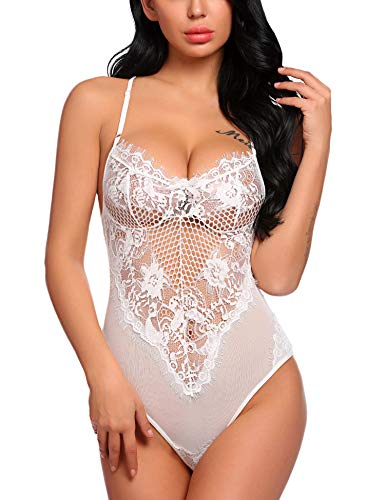 (Avidlove Women One Piece Fishnet Lingerie Lace Babydoll Teddy Mini Bodysuit Leotard White L )