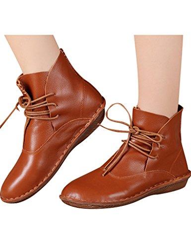 Braun Stiefel Frauen Handgefertigt Youlee Lederstiefel up Round Toe Lace qCvwFx