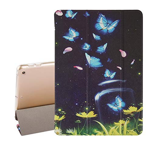 Floral iPad 9.7 2018/2017 Case, Lightweight Smart Case Trifold Stand with Auto Sleep/Wake Function, Microfiber Lining, Clear Hard Back Cover Compatible iPad 9.7 iPad 5th / 6th Gen, ()