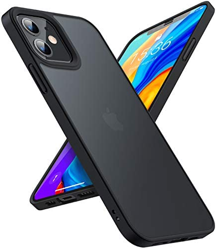 TORRAS Shockproof Compatible for iPhone 12 Mini Case [Military Grade Drop Tested] Translucent Matte Hard Case with Soft Silicone Bumper, Slim Fit Protective Case for iPhone 12 Mini 5.4 Inch, Black