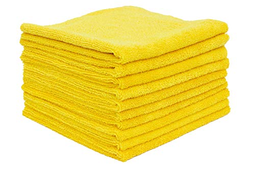 - THE RAG COMPANY (10-Pack) 16 in. x 16 in. Professional EDGELESS 365 GSM Premium 70/30 Blend Microfiber POLISHING, Wax Removal and AUTO Detailing Towels (16x16, Gold)