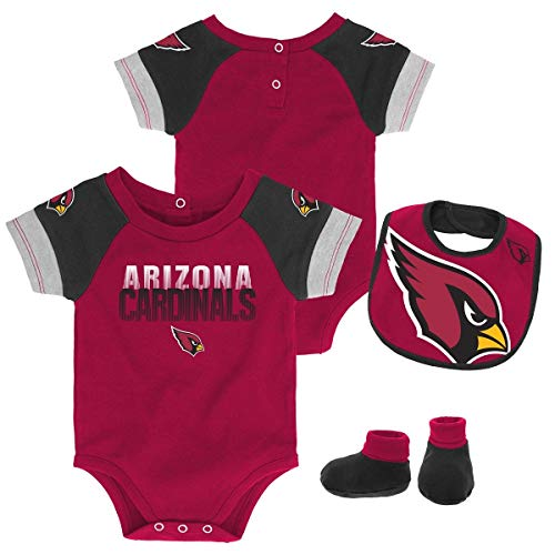 Outerstuff NFL NFL Arizona Cardinals Newborn & Infant 50 Yard Dash Bodysuit, Bib & Bootie Set Cardinal, 0-3 Months