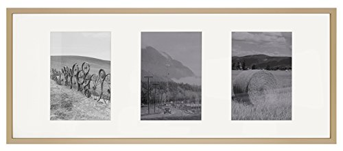 3 Window Picture Frame - 8x20 Gold Aluminum Metal Frame - Ivory Mat Included - Fits Three 4x6 Photos/Pictures - Sawtooth Hanger - Swivel Tabs - Wall Mounting - Landscape/Portrait - Real Glass