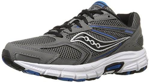 Saucony Men's Cohesion 9 Running Shoe, Grey/Black/Royal, 10 M US BLU FLUORESCENTE