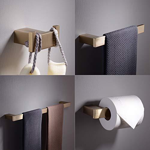 (Kiarog 4-Piece Bathroom Hardware Set, Bathroom Accessory Wall Mounted Towel Bar Towel Ring Paper Holder Robe Hook, Gold Brush )